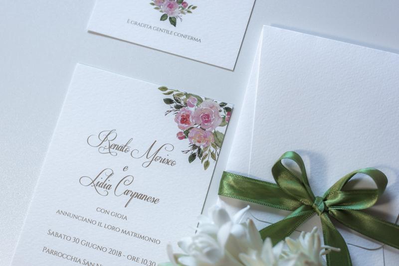 Partecipazioni Matrimonio Inglese.Partecipazione Boho Chic Con Rose Inglesi E Busta Particolare